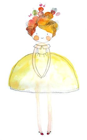 نقاشی دختر با آبرنگ