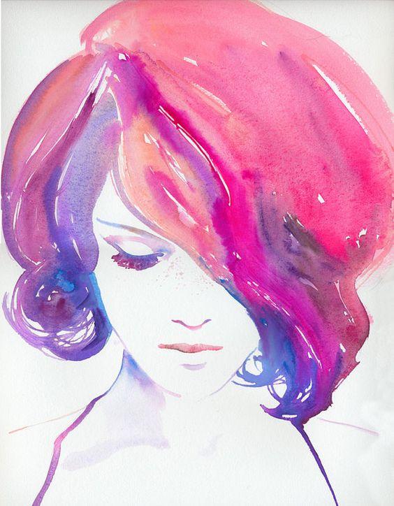 نقاشی دختر مو قرمز