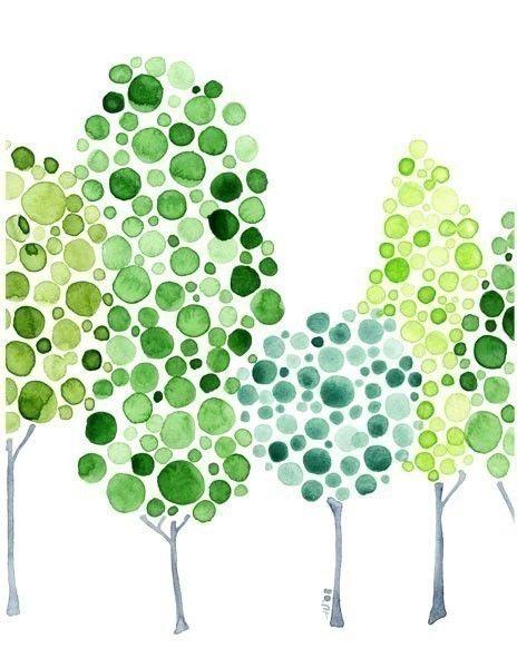 طراحی درخت با آبرنگ