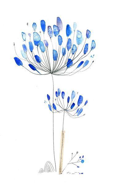 نقاشی آبرنگ گل